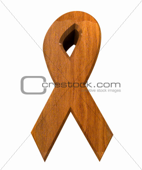 aids hiv symbol in wood (3d)