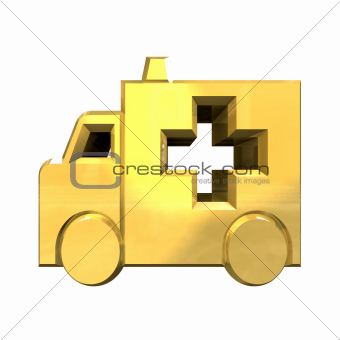 ambulance symbol in gold - 3d