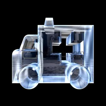 ambulance symbol in glass