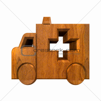 ambulance symbol in wood - 3d