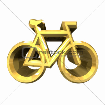 bike symbol in gold (3d)