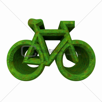 bike symbol in grass (3d)