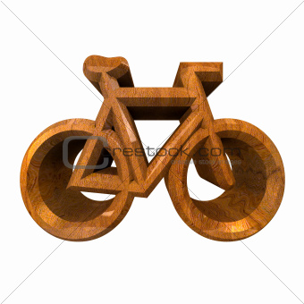 bike symbol in wood (3d)