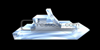 yacht Icon on a White Background - 3d glass