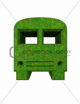 green bus icon in 3D