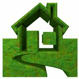 House Icon in grass - 3d made