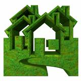 House Icon in grass - 3d
