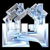 House Icon in glass - 3d