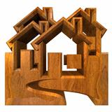 House Icon in wood - 3d
