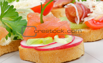 Appetizer of Smoked Salmon closeup