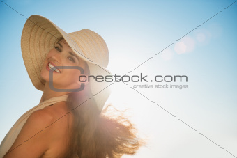 Portrait of happy woman on vacation