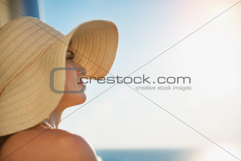 Portrait of happy woman looking into distance
