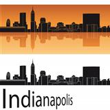 Indianapolis skyline in orange background