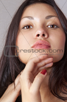 face of young beautiful woman l
