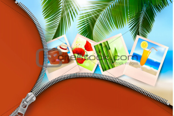 Background with photos from holidays on a seaside  Summer holidays concept