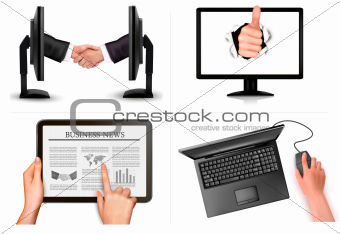 Set of business and office backgrounds