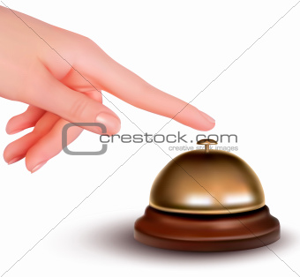 Hand ringing the bell to call  Service desk