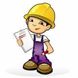 Builder in yellow helmet