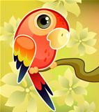 Red parrot on tree