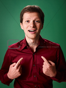 caucasian businessman pointing at himself