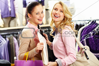 Cheerful shoppers