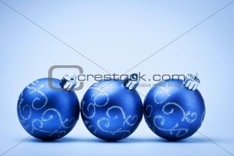 three blue decoration balls