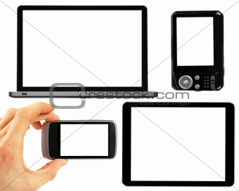 set of electronic gadgets with blank screens