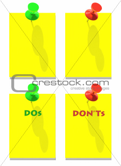 DOs and DON'Ts green red pins