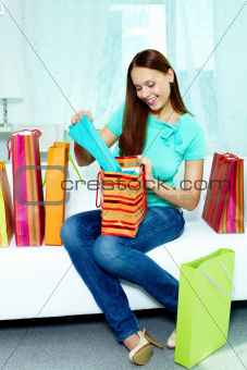 Shopper on sofa
