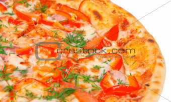 golden crispy Pizza with Peppers