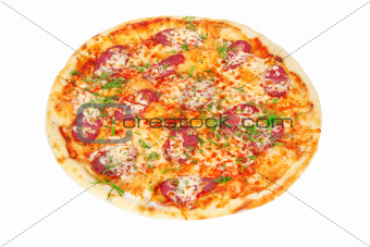 delicious Pizza with Salami and Cheese