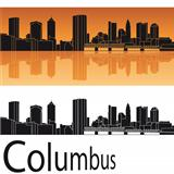 Columbus skyline in orange background
