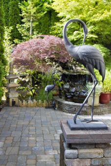 Bronze Cranes in Japanese Inspired Garden