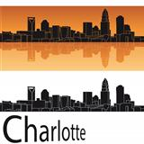 Charlotte skyline in orange background