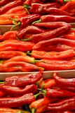 Red chilli peppers at market stall, close-up