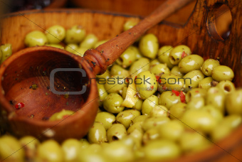 Olives being sold at a marketplace