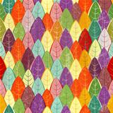 Seamless pattern of colored autumn leaves