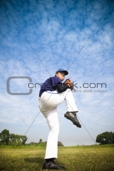 baseball pitcher ready for throwing the ball