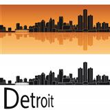 Detroit skyline in orange background