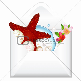 Open Envelope With Starfish And Flowers