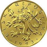 vector gold Money twenty czech crones coin