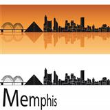Memphis skyline in orange background