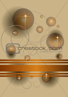 Abstract transparent balls and stars on a beige background
