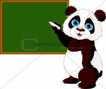 Panda writing on blackboard