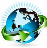 globe and green arrow