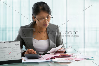 Finishing calculation for tax form on April 15