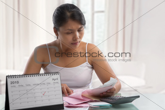 Housewife working on tax report