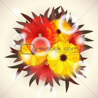 Vector Bright Bouquet of red and yellow Flowers. EPS10 opacity