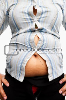 Tight shirt on overweight female body