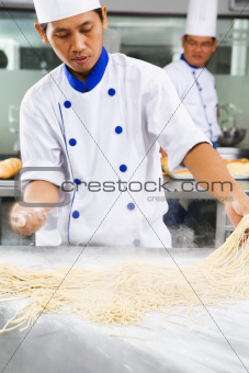 Chef making noodle